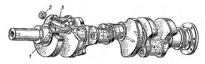 Рис. 14. Коленчатый вал ЗИЛ-130: 1 — противовес; 2 — пробка; 3 — полость для центробежной очистки масла.