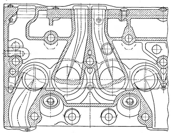 Рис. 21. Расположение газовых каналов в головке двигателя ЗИЛ-ЗЭ130