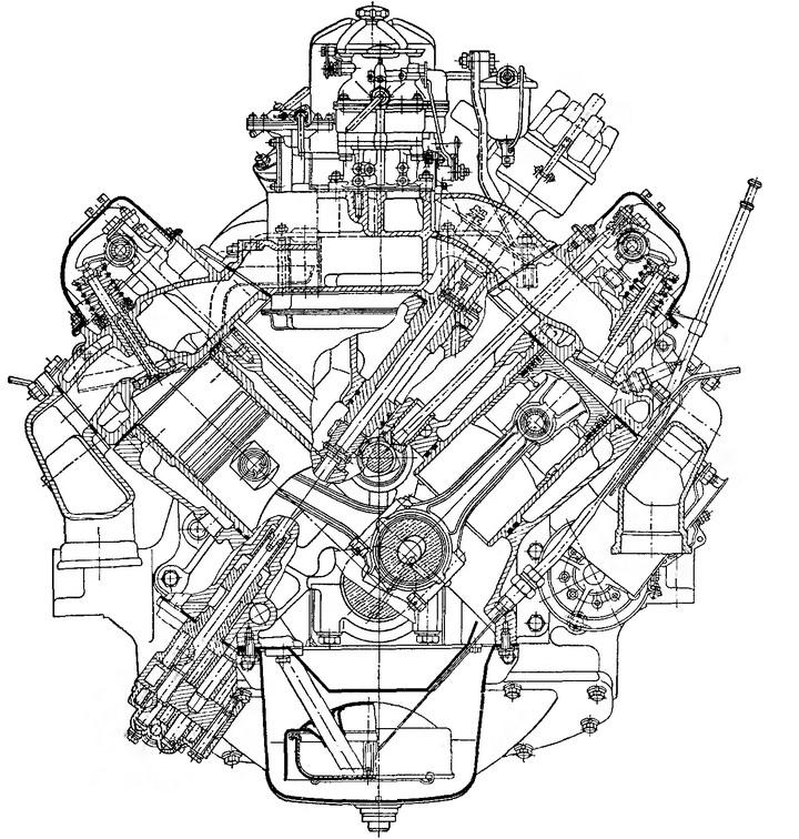 Рис. 22. Поперечный разрез двигателя ЗИЛ-130