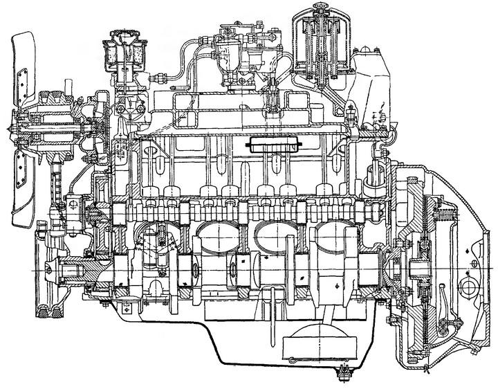 Рис. 23. Продольный разрез двигателя ЗИЛ-130