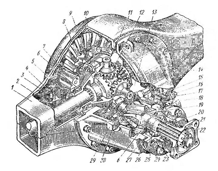 Рис. 43. Гипоидный задний мост ЗИЛ-130: 1 — картер моста; 2 — полуось; 3 — стопорная пластина: 4 — стопор гайки подшипника дифференциала; 5 — регулировочная гайка подшипника дифференциала; 6 — конический роликоподшипник; 7 — крышка подшипника дифференциала; 8 — коническое колесо; 9 и 13 — соответственно правая и левая чашки дифференциала; 10 — зубчатое колесо полуоси; 11 — крестовина сателлитов; 12 — сателлит; 14 — картер главной передачи; 15 — маслосъемник; 16 — болт; 17— гайка опорного болта; 18 — опорная накладка; 19 — коническая шестерня; 20 — сальник; 21 — фланец шестерни; 22 — гайка крепления фланца; 23 — крышка стакана подшипников; 24 — стакан подшипников; 25 — регулировочные шайбы подшипников; 26 — распорное кольцо; 27 — регулировочные прокладки шестерни; 28 — цилиндрический роликоподшипник; 29 — пробка заливного отверстия