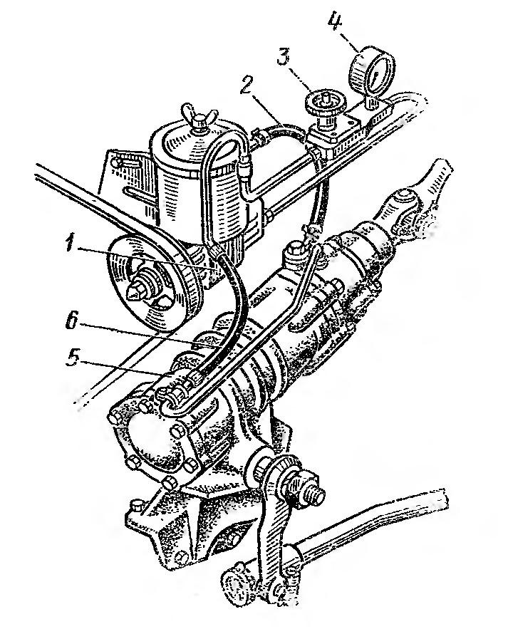 Рис. 56. Приспособление для проверки давления: 1 — насос гидроусилителя; 2 — шланг низкого давления; 3 — вентиль; 4 — нанометр; 5 — рулевой механизм; 6 — шланг высокого давления.