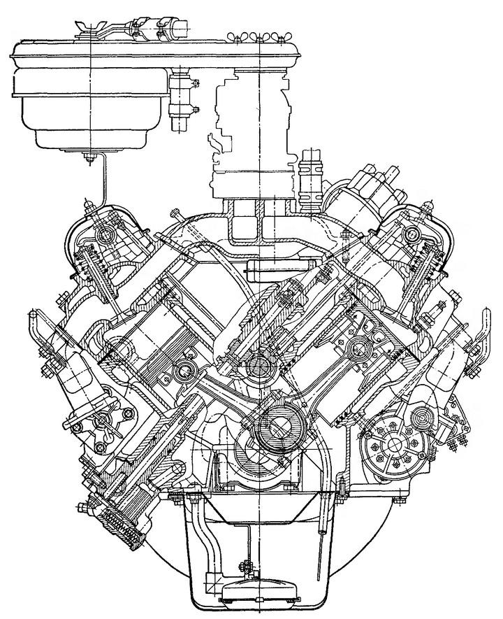 Рис. 17. Поперечный разрез двигателя ЗИЛ-1Э130