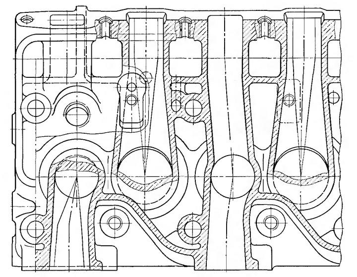 Рис. 18. Расположение газовых каналов в головке двигателя ЗИЛ-1Э130