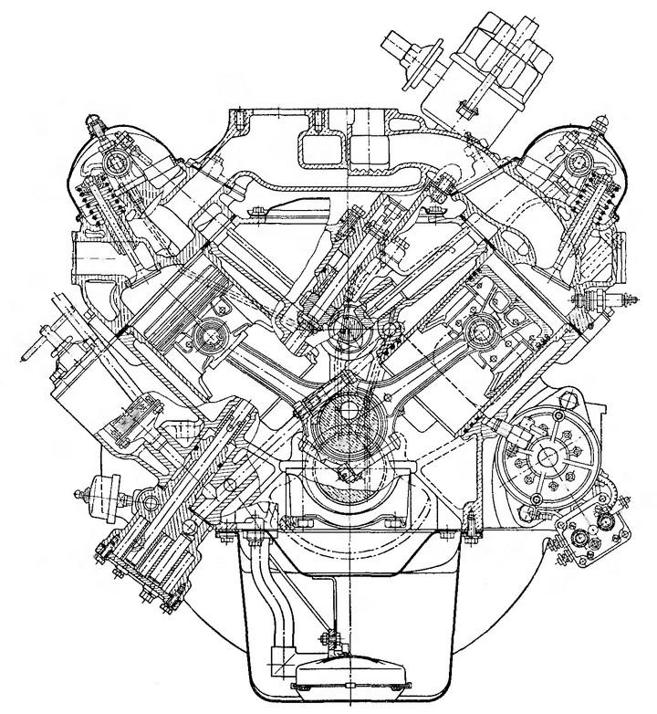 Рис. 11. Поперечный разрез двигателя ЗИЛ-Э130