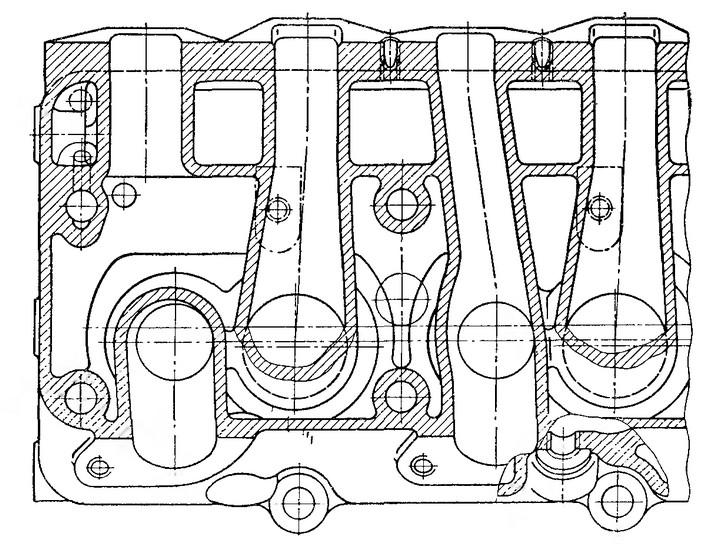 Рис. 14. Расположение газовых каналов в головке двигателя ЗИЛ-Э130