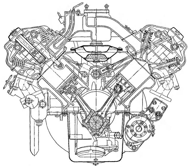 Рис. 2. Поперечный разрез двигателя ЗИС-ЭПЗ