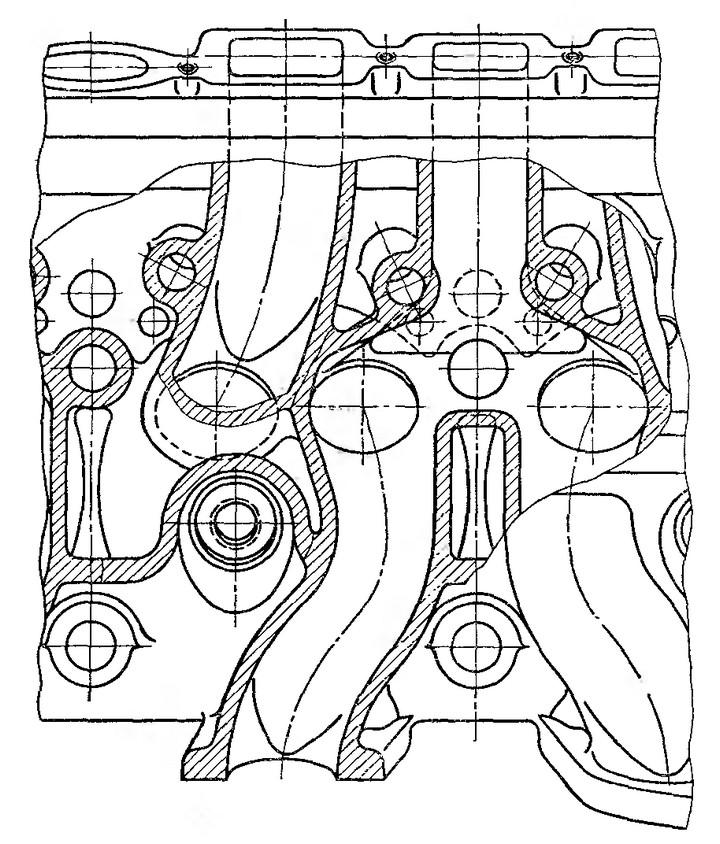 Рис. 3. Расположение газовых каналов в головке двигателя ЗИС-ЭПЗА