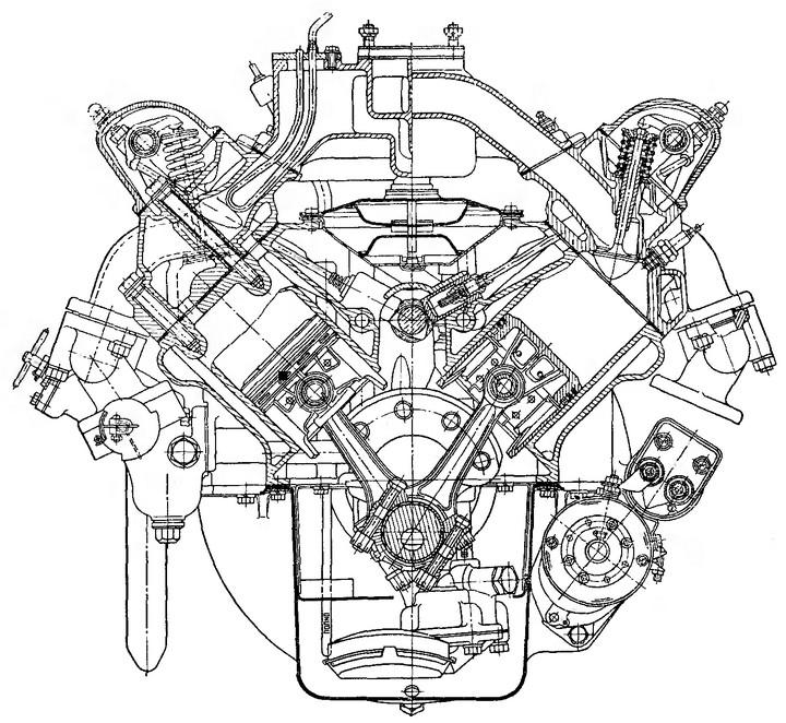 Рис. 4. Поперечный разрез двигателя ЗИС-ЭПЗА